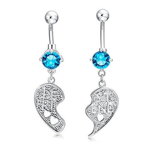 OULII 2 pièces Meilleur ami nombril en cristal diamant nombril Piercing Boucles d'oreilles Bijoux De Corps Décoration