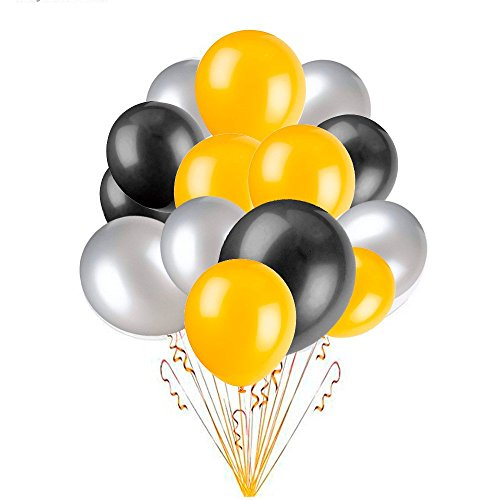 EZESO 10 Pulgadas 100 Globos Las Decoraciones del Partido Color Brillante Globos de Látex para la Fiesta de Cumpleaños del Aniversario de Boda (Negro / Oro / Plata)