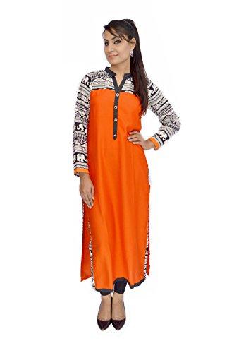 BPT Orange Rayon Pakistani Long Kurta (M)