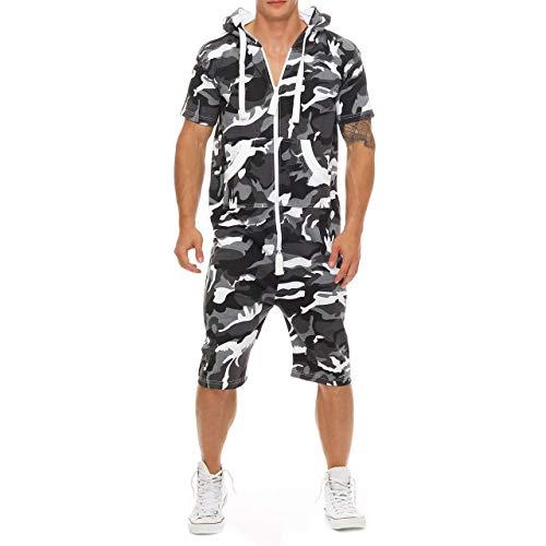 Eghunooye Herren Sommer Jumpsuit kurz Anzug Overall Sport Jogging Training Anzug Onepiece Jumpsuit mit Reißverschluss (Camouflage, M) -