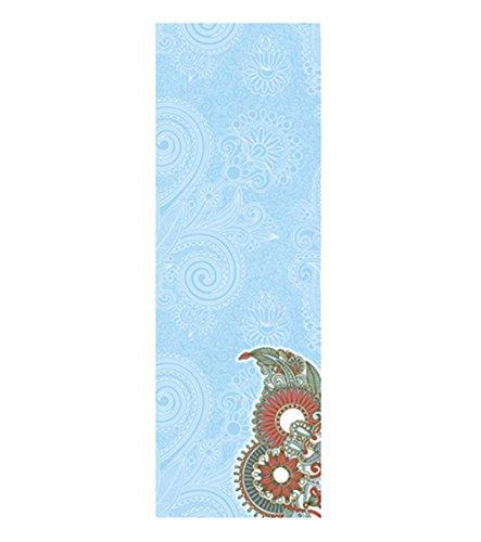 Öko Yoga Handtuch Rutschfest und Leicht Yoga Decke saugfähiges Mikrofaser Handtuch, schnell trocknend, Waschmaschinen fest, Perfekt für Reisen, Sport, Fitness, Camping, Schwimmen, Yoga, Pilates, Bikram, Strand, Bad oder zu Hause (Blau) (Top Bedruckte Gummi Baumwolle)