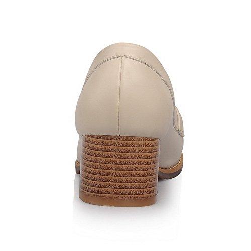 AllhqFashion Femme Rond à Talon Correct Couleur Unie Tire Chaussures Légeres Abricot