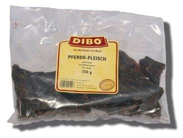 hundeinfo24.de DIBO Pferde-Fleisch, 250g-Beutel, der kleine Naturkau-Snack oder Leckerli für Zwischendurch, Hundefutter, Qualitätskauartikel ohne Chemie von DIBO