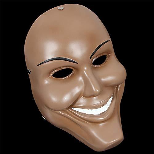 NUOKAI Halbgesichtsmaskenballmaskenmänner des Horrors volle Gesicht und Frauen, brauner Smiley