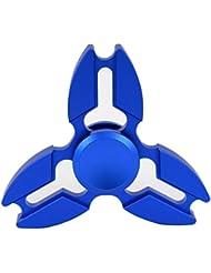 Lordazz Aleación de aluminio Anti-Ansiedad 360 Fidget Tri-Spinner Fidget Spinner Juguete Reductor de estrés de cerámica Bearing Sonrigen Focus Toy para ADD, ADHD, y autismo Sensory Stress Relief (azul)