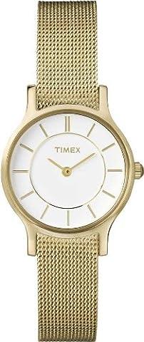 Timex Damen-Armbanduhr Easy Reader Analog Quarz Edelstahl T2P168D7