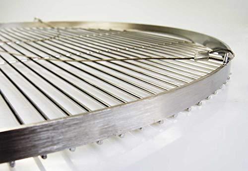 AKTIONA Edelstahl Grillrost 80 cm Grillclub/nur 14 mm Stababstand! Schwenkgrill, Qualitätsedelstahl V2A mit 3 Aufhänge-Ösen – stabile & schwere Ausführung Rund Grill