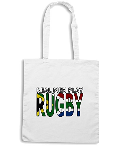 T-Shirtshock - Borsa Shopping TRUG0038 real men rugby south africa fitted logo Bianco