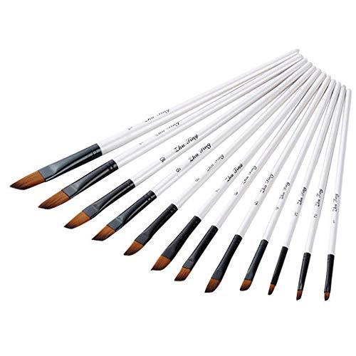 Haludock Ensemble de pinceaux 12 bâtons Langue Blanche Double Couleur Nylon Cheveux