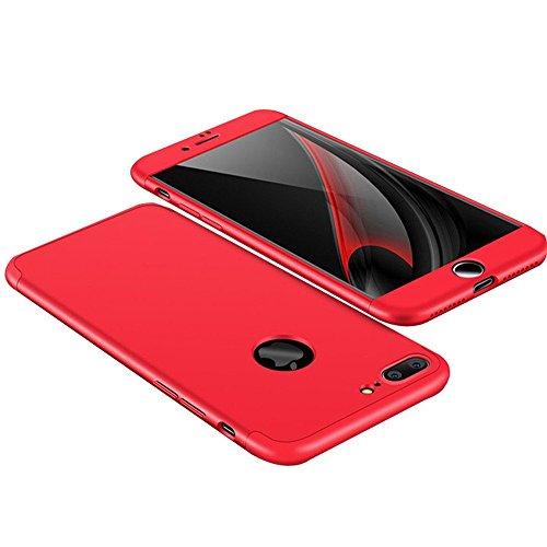iPhone 6 Plus Custodia iPhone 6S Plus Cover,2ndSpring 360 Gradi della copertura completa 3 in 1 Hard PC Case Cover con Protezione Dello Schermo di Vetro Temperato,Ultra Sottile Anti-Scratch Bumper Pro Rosso