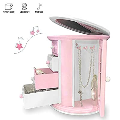 Music Jewelry Box Storage Case for Little Girls with a lot of Pullout Drawers, Pink