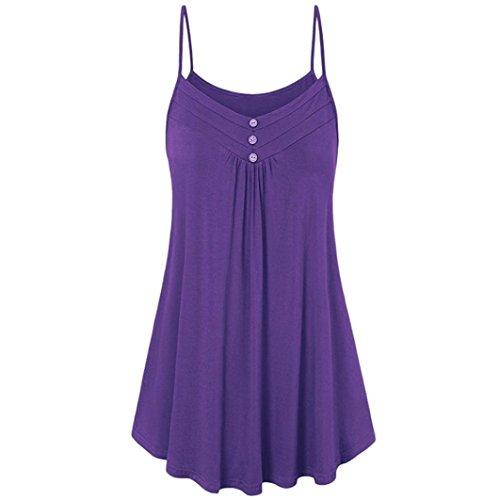 MRULIC Damen Oberteile Helle Farbe mit Knöpfe Geripptes Bluse (EU-46/CN-2XL, Y-Violett)