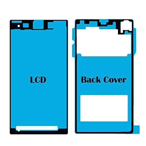 MMOBIEL Set Completo di Sticker Adesivi Sony Xperia Z1 Compact Mini Impermeabili con Colla Frontali e Posteriori per Schermo LCD Frontale/Coperchio Batteria Posteriore incl Tamponi per Pulizia