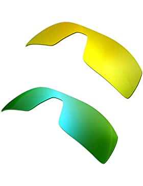 Hkuco Plus Mens Replacement Lenses For Oakley Oil Rig 24K Gold/Emerald Green Sunglasses