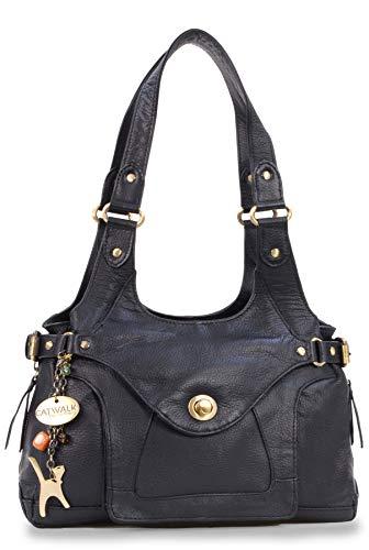 Catwalk Collection Handbags - Leder - Umhängetasche/Schultertasche - ROXANNA - Schwarz