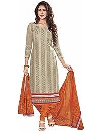 [Sponsored]Manmandir Women's Cotton Silk Dress Material(Manjulika_522 Beige Free Size)