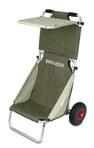 Eckla Beach Rolly mit Sonnendach Transport- Sitzwagen Surfboards Oliv-Beige Beachrolly