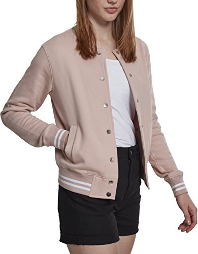 Alternative Sweatshirt Apparel (Urban Classics Damen Sweatjacke Ladies College Sweat Jacket, Rosa (Lightrose/Lightrose 01330), Large (Herstellergröße: L))