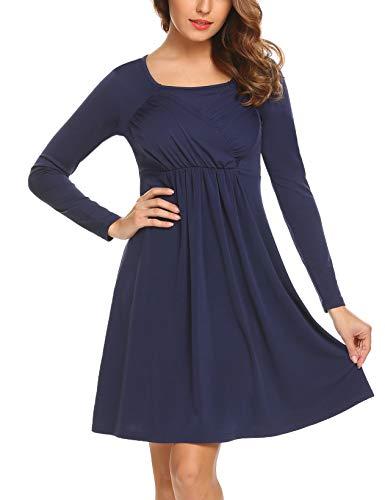 Meaneor Damen Elegant Jersey Langarm Kleid Wickelkleid A-Line Herbstkleid Cocktailkleid Partykleid...