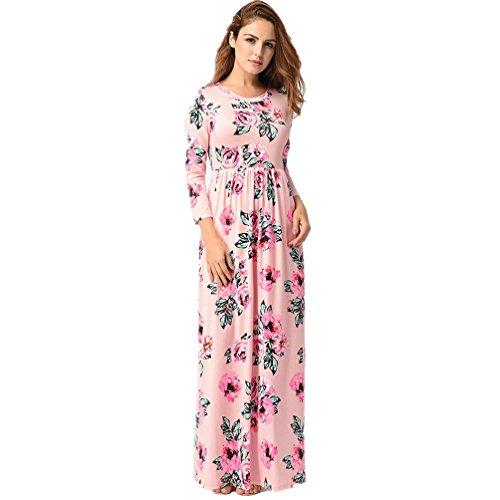 vestidos de mujer,Switchali Mujer manga larga bohemio Traje de baño para mujer Verano moda floral Vestido de playa maxi atractivo ropa nuevo 2017 barato (Asiático Tamaño:M, Rosado)
