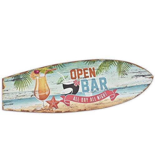 Dadeldo Holzschild Open Bar Surf Beach Design MDF 20x60cm bunt Wand-Bild Deko (Motiv 1)