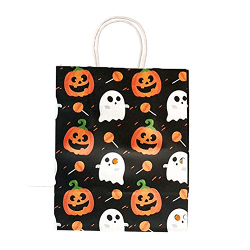 �rbis Muster Papier Geschenktüte Mit Griff Halloween Candy Treat Taschen Shop Shop Geschenkverpackung Liefert 10 STÜCKE (Schwarz) ()