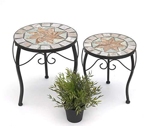 DENK Blumenhocker Mosaik Rund 2er Set 29 und 33 cm Blumenständer 17828 Beistelltisch Pflanzenständer Mosaiktisch Klein
