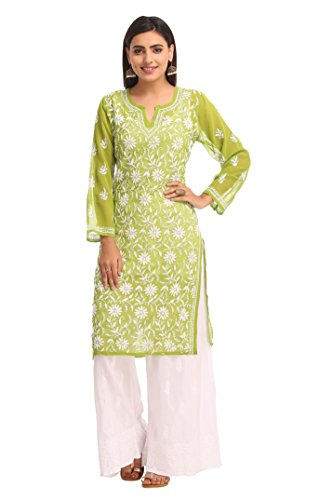 ADA Handmade Lucknow Chikan Ethnic Faux Georgette Kurti Kurta Regular Wear A90406