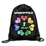 Dhrenvn Undertale Role-Playing Video Game Logo Drawstring Bags Hiking White Backpack Sport Bag for Men & Women School Travel Backpack for Teens College