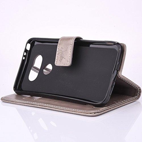 SainCat Coque Etui pour LG G5, LG G5 Coque Dragonne Portefeuille PU Cuir Etui, Coque de Protection en Cuir Folio Housse, SainCat PU Leather Case Wallet Flip Protective Cover Protector, Etui de Protect Pissenlit en relief-Gris