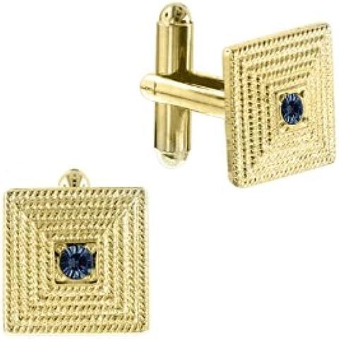 1928 Jewelry oro, con cristallo color zaffiro, Gemelli