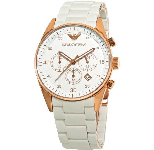 Herren EMPORIO ARMANI AR5919weiß Silikon Edelstahl-Quarz-Uhr