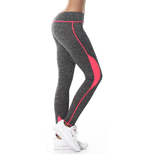 Jela London Damen Fitness Leggings Neonpink - 2