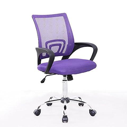Bürostuhl Netzbezug Drehstuhl Schreibtischstuhl Stuhl Schreibtisch Schwarz (Lila) (Stühle Lila)