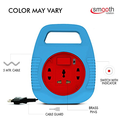 Extension Board , Elove 6 Amp Multi Plug Point Extension Cord (5 Meter) with LED Indicator and Universal Socket (Color may Vary)  available at amazon for Rs.240