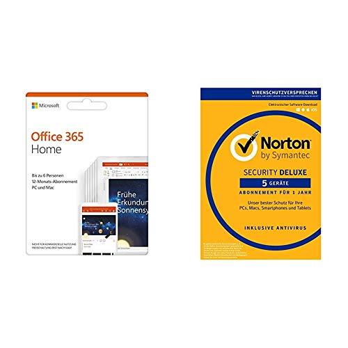 Microsoft Office 365 Home multilingual + Norton Security Deluxe 2019 | 5 Geräte (365 Software Norton)