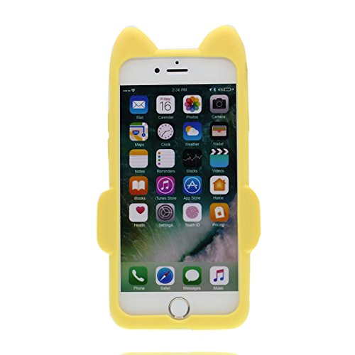 iPhone 6s Plus Custodia, [Materiale flessibile TPU Durable ] Copertura iPhone 6/6S Plus Case 5.5 [ 3D Cartoon Cover Rainbow gatto ] Scivolamento anti shock giallo