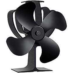 Aobosi Ventilateur de poele avec 4 pales de rotor et système de protection contre la surchauffe ,écologique ventilateur pour Brûleur à bois et cheminées,Ultra Silencieux