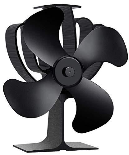 Aobosi Ventilator Ofenventilator für Holz/LOG Brenner/Kamin, Hitze Powered Ofen Fan mit 4 Rotorblätter und Kein Lärm,Umweltfreundlich,Schwarz
