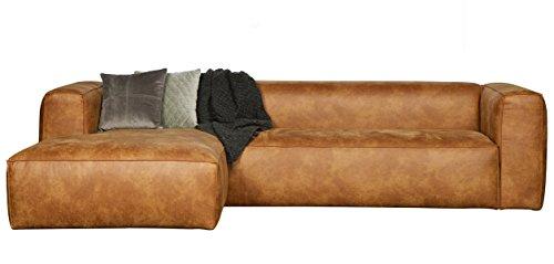 Canapé d'angle gauche en cuir et polyester coloris cognac - Dim : H 73 x L 305 x P 96/175 cm -PEGANE-