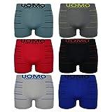 6er Pack Herren Boxershorts Uomo Underwear Streifen Retro Pants Trunks Basic, Größe:XL/XXL