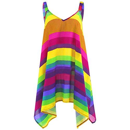 (ESAILQ Damen Übergröße Streifen-Pullover Ärmellose Unregelmäßige Schaukel Weste Tank Shirt (Gelb, XL))