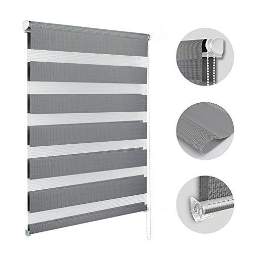 Hans-Shop Duo-Rollo ohne Bohren 80 x 150CM Klemmfix Doppelrollo mit Klemmträger Fensterroll für Fenster & Türen(Grau) (Horizontal-jalousie)