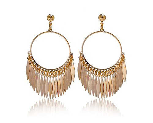 Glitz Fashion 18K Gold Plated Feather Hoop Classical Drop Earrings for Women
