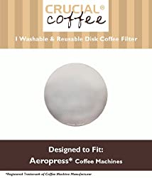 1 Crucial Coffee Washable & Reusable Coffee Filter Fits Aerobie AeroPress; Fits ALL Aerobie AeroPress Coffee & Espresso Machines; Manufactured by Crucial Coffee