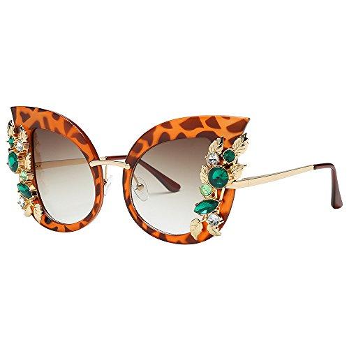 TTLOVE Damenmode KüNstliche Diamant Katze Ohr Metallrahmen Marke Klassische Sonnenbrille Sonnenbrillen FüR Diamond Europa Mode Retro Classic Cat Eye Glitzernd Blumen Sunglasses (EIN)