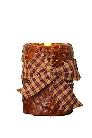Your Hearts Delight Homespun Tie Primitive LED Pillar, Tan