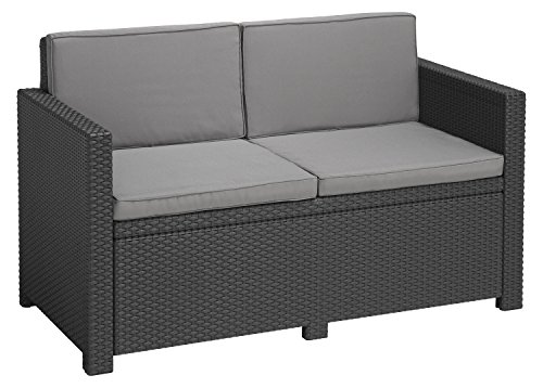 Allibert Lounge Sofa, Balkon, Victoria, grafit/cool grau, 129 x 63 x 77 cm, wetterbeständiges Lounge Sofa, Rattan