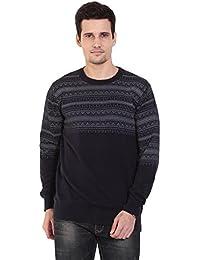 TAB91 Men's Cotton Rich Dark Blue Round Neck Pullover
