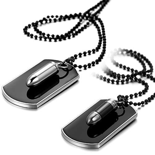 JewelryWe Schmuck 2pcs Herren Halskette, Gewehrkugel Geschoss Militärischen Erkennungsmarken Armee Stil Dog Tag Anhänger mit 70cm Kette, Schwarz Silber